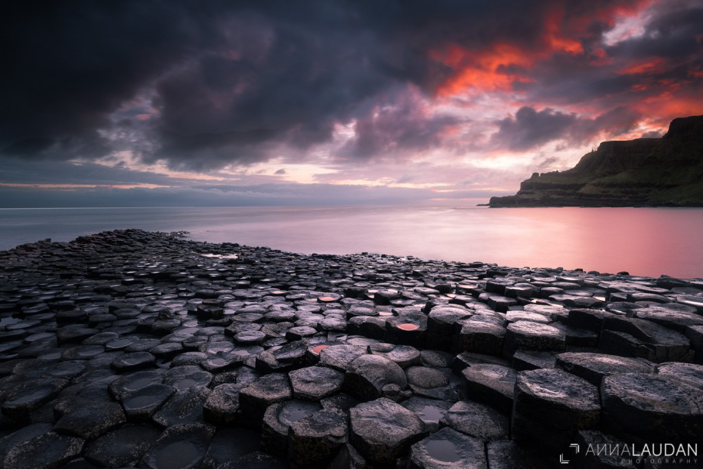 Bloody sunrise at the Giant's Causeway