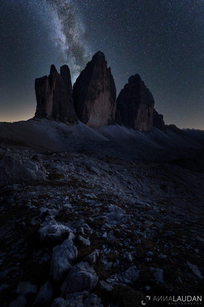 Miilchstraße Astrofotografie Dolomiten Südtirol Drei Zinnen