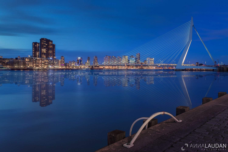 Blue hour at the Erasmus Bridge
