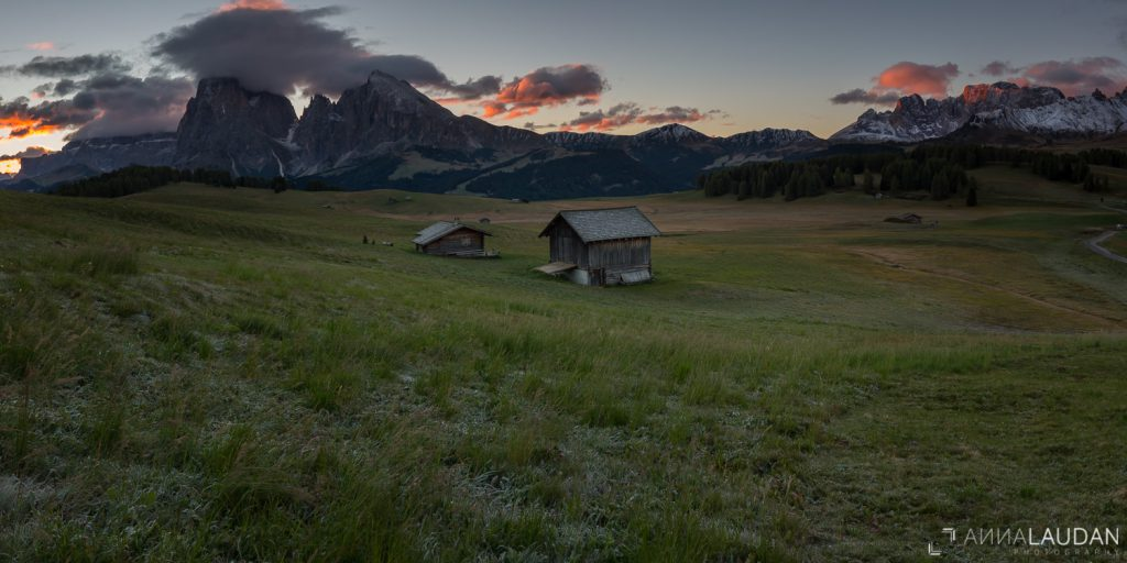 Seiser Alm Sonnenaufgang Langkofel Plattkofel Südtirol Compatsch Dolomiten